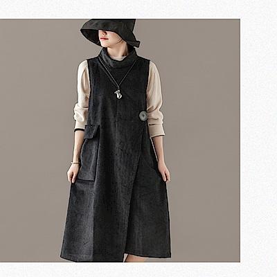 高領不規則燈芯絨外穿條絨洋裝/設計所在/Y4984