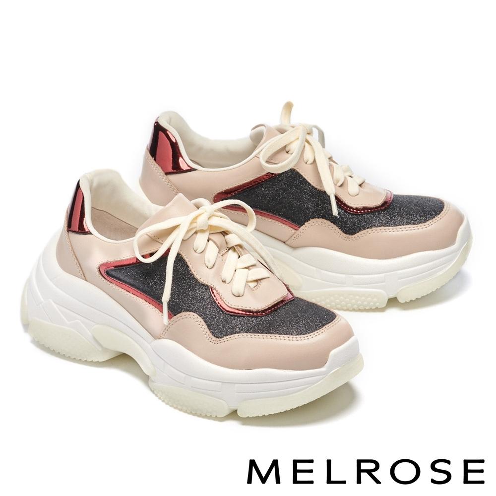 休閒鞋 MELROSE 時尚老爹風異材質拼接綁帶厚底休閒鞋-米