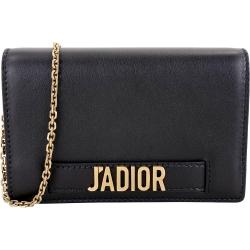 Dior J ADIOR 翻蓋式鍊帶斜背手抓包(黑色)