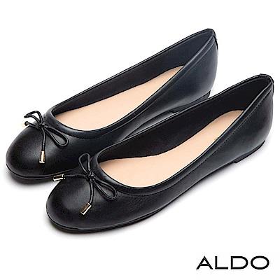 ALDO 原色真皮鞋面佐金屬蝴蝶結娃娃鞋~尊爵黑色