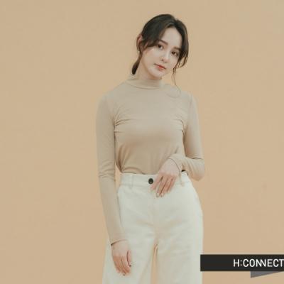 H:CONNECT 韓國品牌 女裝-素面小立領合身上衣-卡其