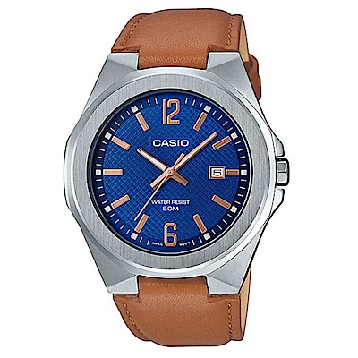 CASIO 現代都會感城市男子時尚皮帶腕錶-藍面(MTP-E158L-2A)/44mm
