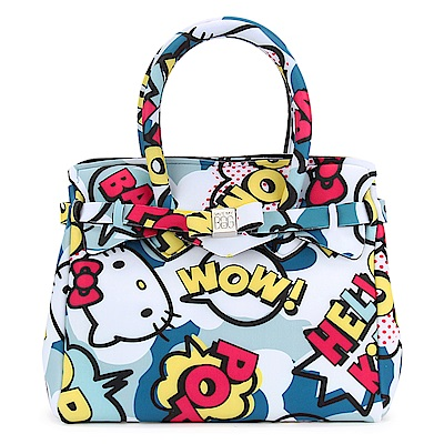 SAVE MY BAG Petite Miss系列Hello Kitty輕量托特包-藍色