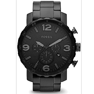 FOSSIL 終極戰士三眼計時不鏽鋼腕錶(JR1401)-黑鋼x黑/50mm