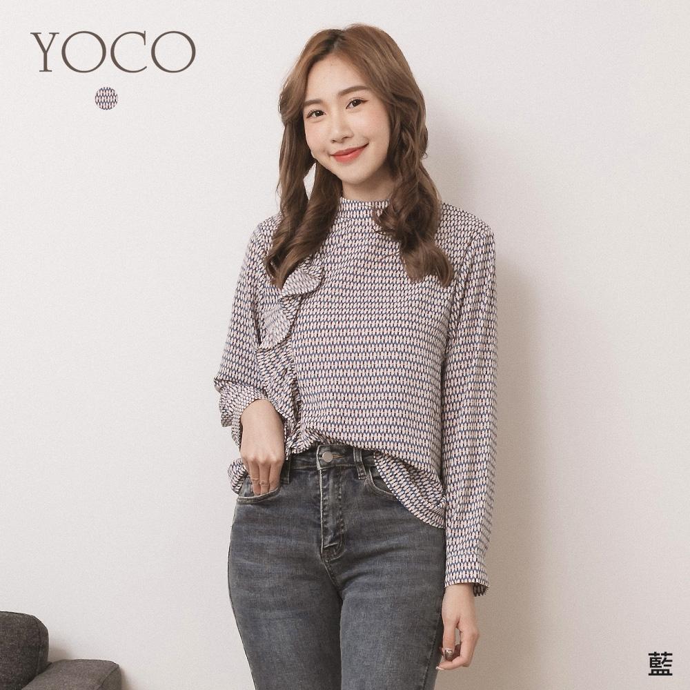 東京著衣-YOCO 韓女子點名微高領單荷葉滾邊氣質上衣