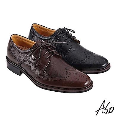 A.S.O職場通勤 萬步健康鞋 異材質搭配紳士鞋-咖啡