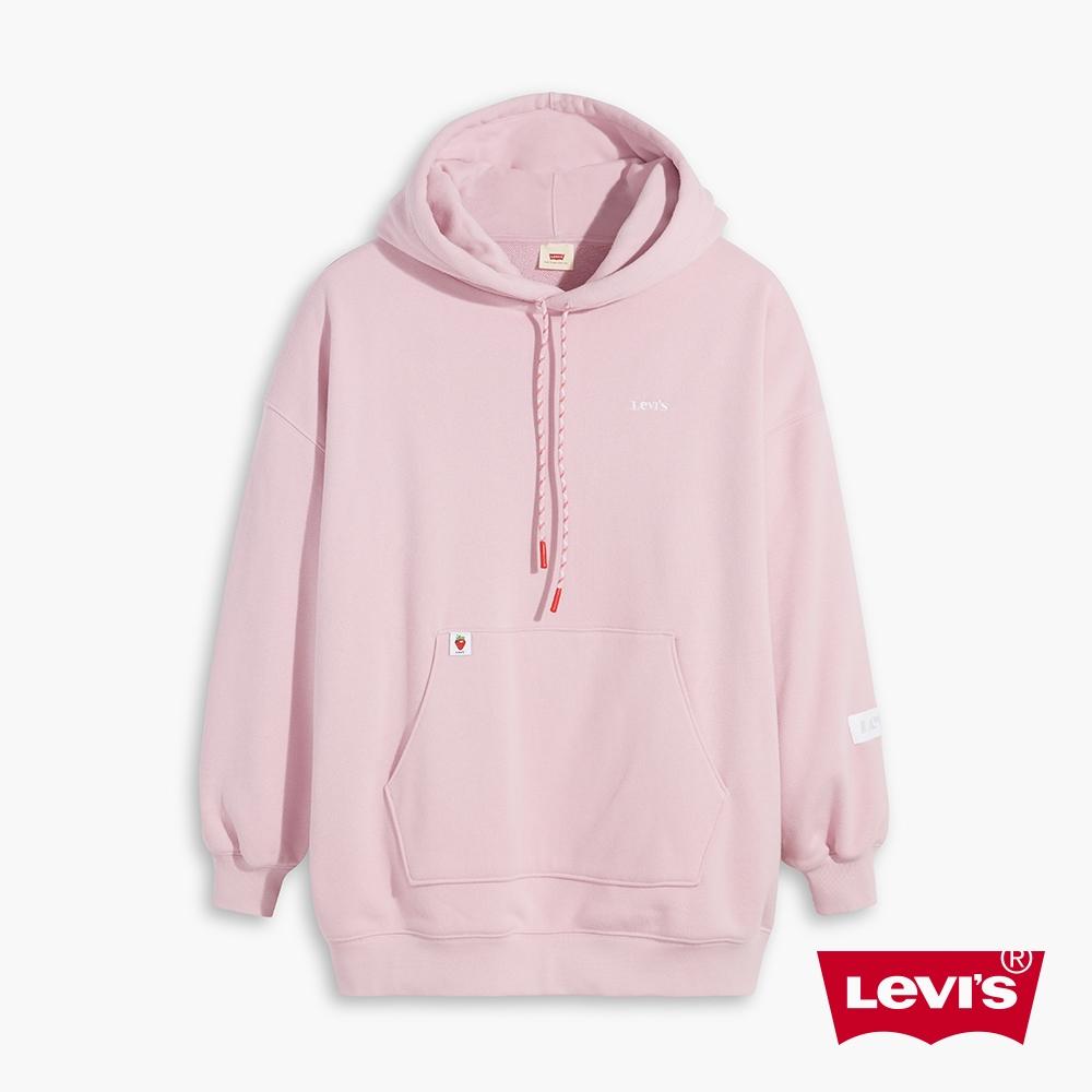 Levis 女款 重磅長版帽T 精工Logo刺繡 440GSM厚棉 蘭花紫