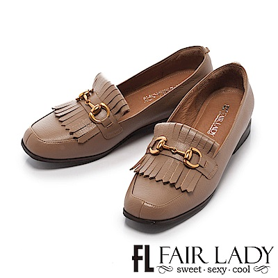 Fair Lady 有一種喜歡是早秋-高雅流蘇馬銜扣樂福鞋 芋