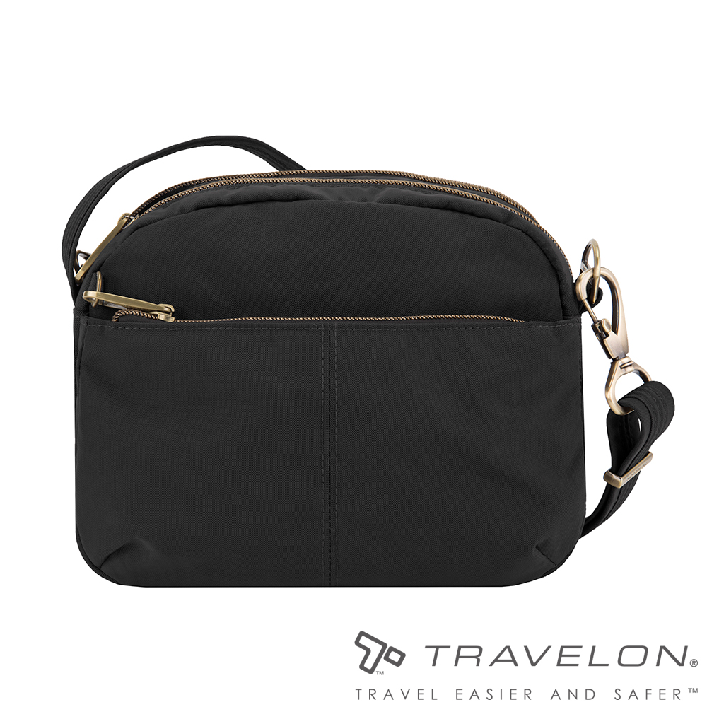 Travelon美國防盜包 都會休閒簡約包款/防割鋼網多層斜背包TL-43327-18黑