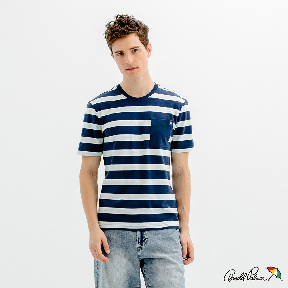 Arnold Palmer -男裝-彈性條紋網眼貼袋T恤-藍色