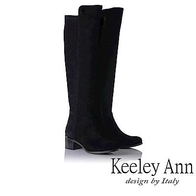 Keeley Ann 設計美學~高貴質感鞋跟金屬點綴膝上長靴(黑色-Ann)
