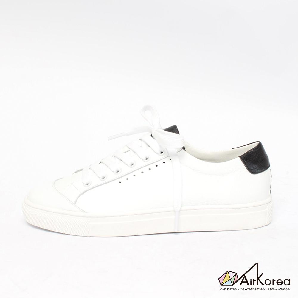 【AIRKOREA韓國空運】真皮正韓拼接配色綁帶微增高休閒鞋-白黑