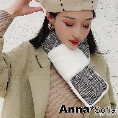 AnnaSofia 日系雙面仿獭兔毛穿叉款 保暖圍脖套圍巾(千鳥紋-白系)