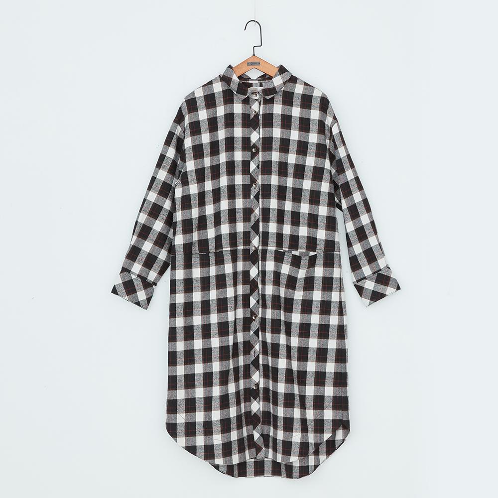 gozo 復古方格長版襯衫洋裝(二色)
