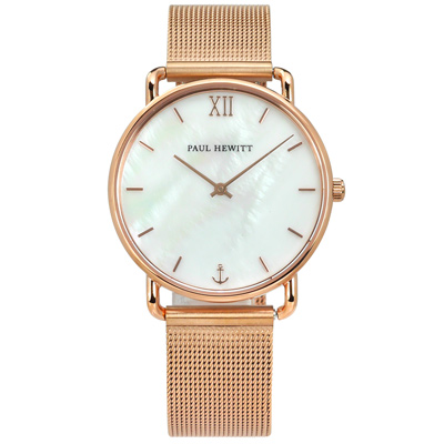 PH PAUL HEWITT 珍珠母貝 米蘭編織不鏽鋼手錶-銀白x鍍玫瑰金/33mm