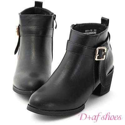 D+AF 帥氣作風.金屬釦折帶中跟短靴*黑