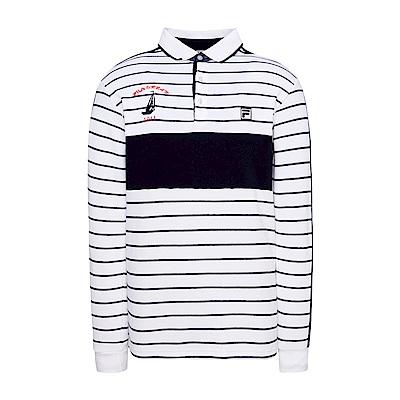 FILA 男款條紋POLO衫-白 1POS-5702-WT