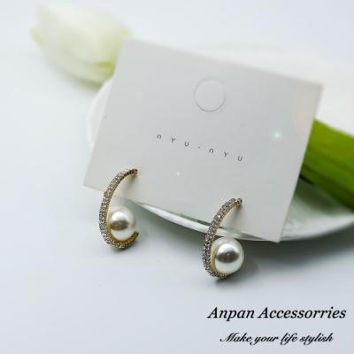【3件51折】ANPAN愛扮韓東大門法式典雅珍珠圓弧滿鑽925銀針耳釘式耳環-金