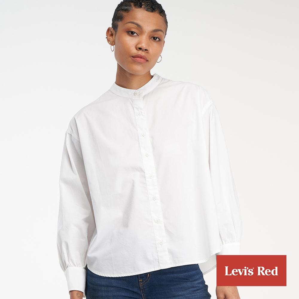 Levis Red 工裝手稿風復刻再造 女款 無領襯衫 簡約白