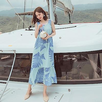 不易皺夏日樹葉印花波浪裙擺洋裝-OB大尺碼