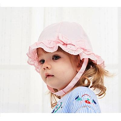 歐美原創設計-女童雷絲花邊春夏公主盆帽