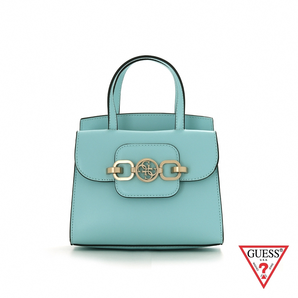GUESS-女包-粉嫩純色飾扣肩背手提包-淺藍 原價2490