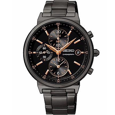 SEIKO CS 時尚休閒風格三眼計時女腕錶/黑面x黑鋼/36mm/7T92-0RS0SD