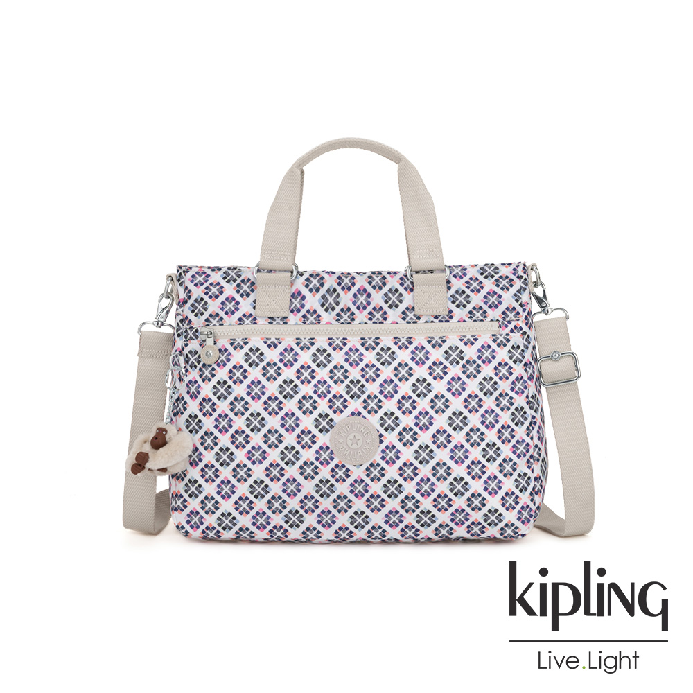 Kipling 復古花磚前後拉鍊袋手提側背兩用包-GELLA