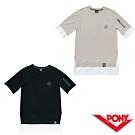 【PONY】彈性純棉短袖上衣T恤 男款 2色 黑 米色