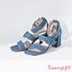 Grace gift X Wei-聯名雙寬帶方釦繞踝粗跟涼鞋 牛仔 product thumbnail 1