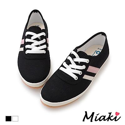 Miaki-帆布鞋韓系學院平底休閒鞋-黑