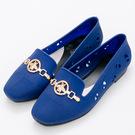 River&Moon防水鞋-時尚髮絲紋金飾Q軟洞洞樂福鞋雨鞋-藍