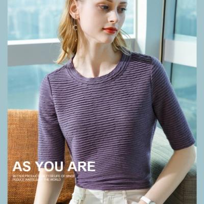 專注內搭-中袖T恤立體條紋五分袖素色圓領上衣(六色S-3XL可選)