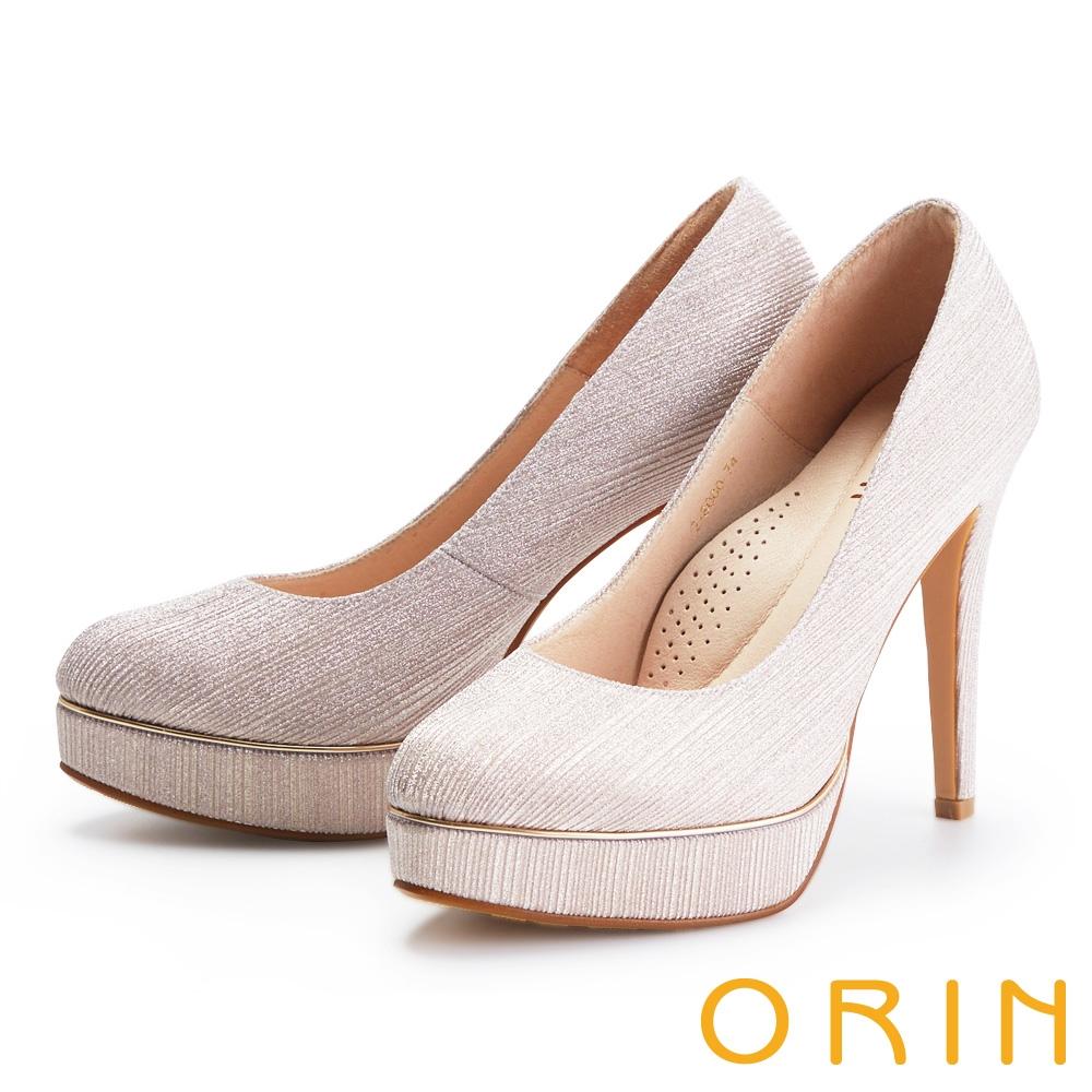 ORIN 閃耀金蔥金屬花嫁 女 高跟鞋 粉金
