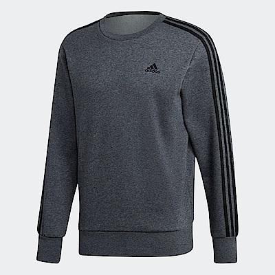 adidas Essentials 三條線圓領運動上衣 男 DJ2665