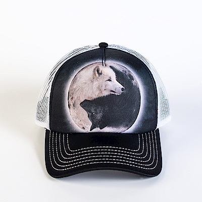 摩達客美國進口The Mountain陰陽狼藝術棒球帽網帽5-Panel新五分割帽