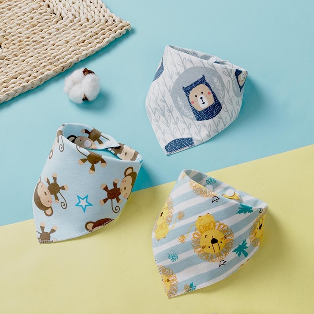 Baby童衣 純棉雙面三角領巾 嬰兒口水巾三入組 男寶寶 女寶寶卡通印花三角巾三條入 88476