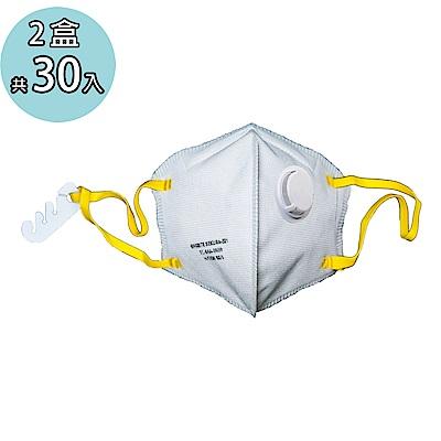 淨舒式 美規N95 耳掛式杯狀防護口罩(有氣閥款) 一盒15入 2盒組共30入