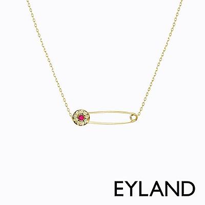 Eyland英國倫敦 CLAUDETTE 粉色水晶鍍金迴紋針項鍊