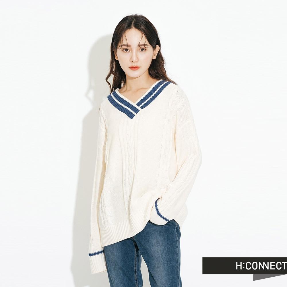 H:CONNECT 韓國品牌 女裝-V領撞色麻花針織上衣-白