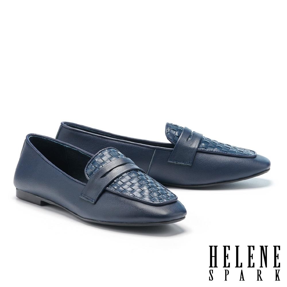 平底鞋 HELENE SPARK 簡約質感編織全真皮樂福平底鞋-藍