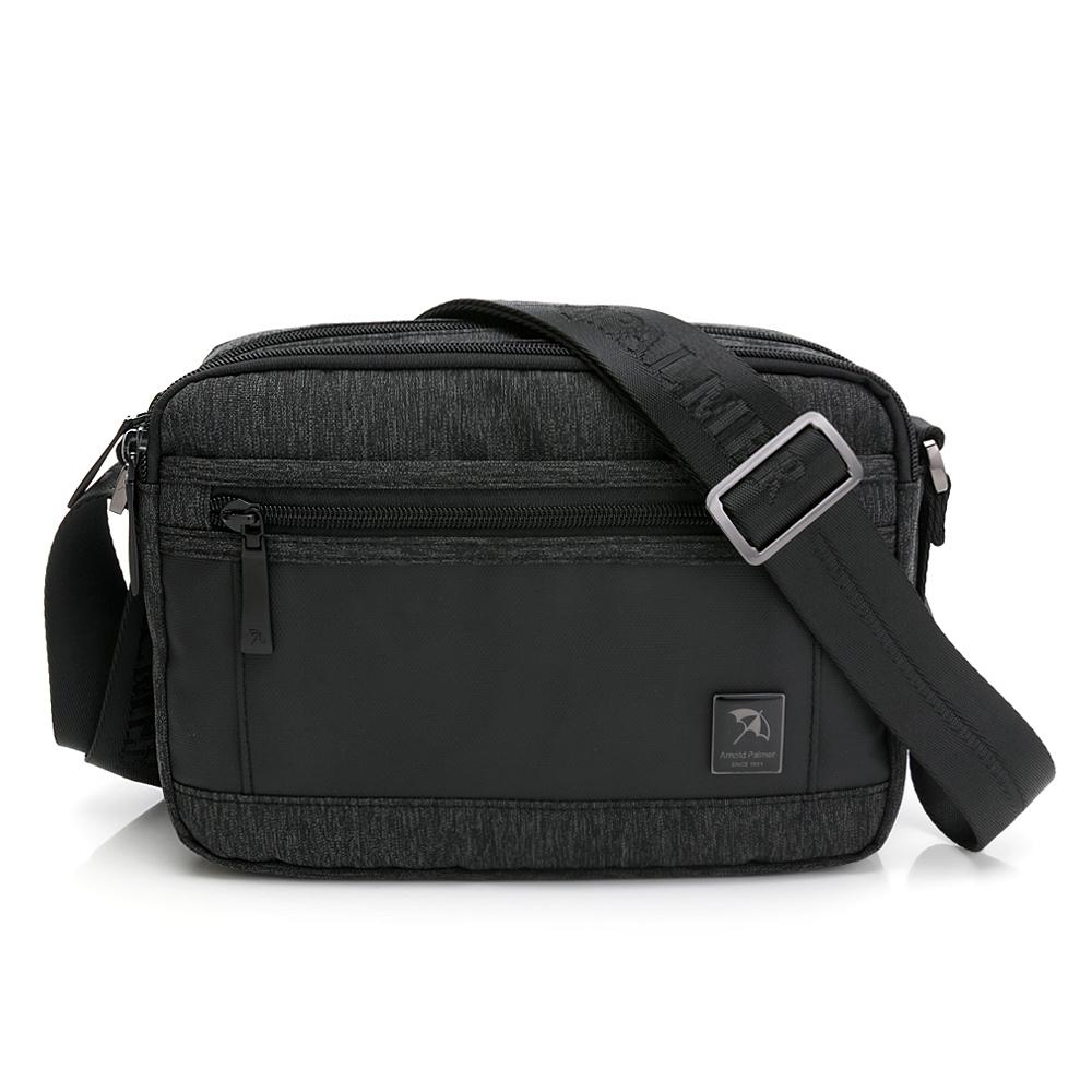 Arnold Palmer- 雙層式斜背包  灰色拼接滌綸系列-黑灰色