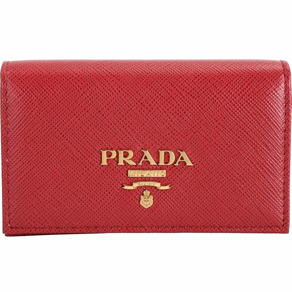 PRADA Saffiano 金字LOGO防刮牛皮釦式名片夾(紅色)