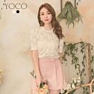 東京著衣-YOCO 法式典雅蕾絲雕花鏤空純色上衣-S.M.L(共兩色)