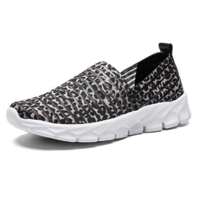 韓國KW美鞋館-清新森林動物紋飛織輕量健走鞋 灰豹紋