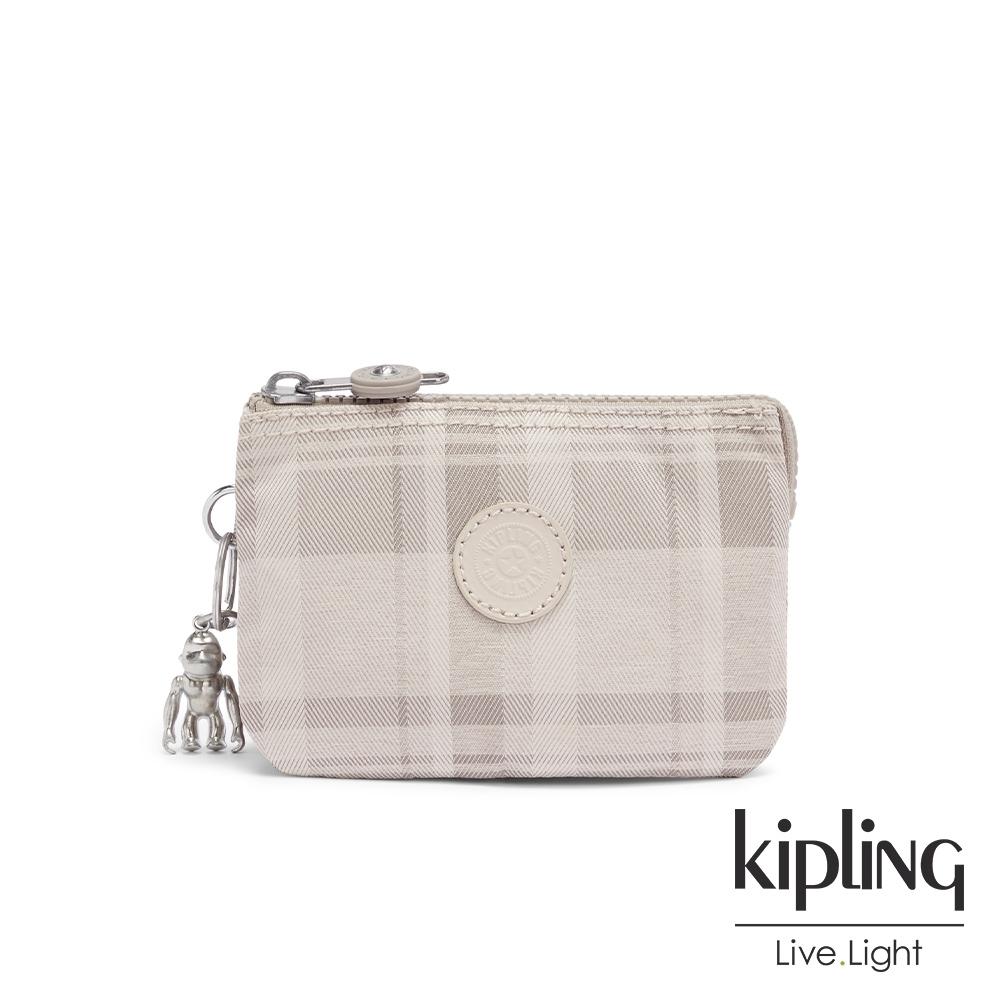 Kipling 溫柔奶油格紋三夾層配件包-CREATIVITY S
