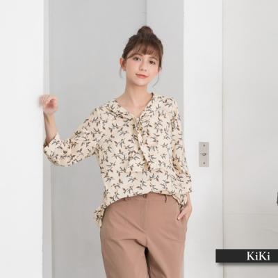 【KiKi】領口綁結飛雁圖騰-襯衫(二色/版型適中)