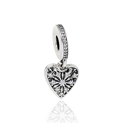 Pandora 潘朵拉 魅力冬季之心鑲鋯 垂墜純銀墜飾