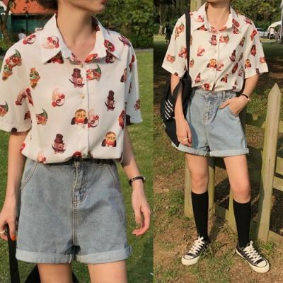 【韓國K.W.】追加款時尚穿搭反摺牛仔短褲