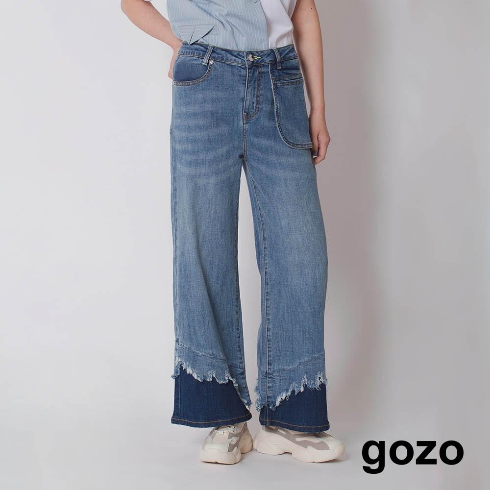 gozo-深淺洗色拼接寬褲(藍色)